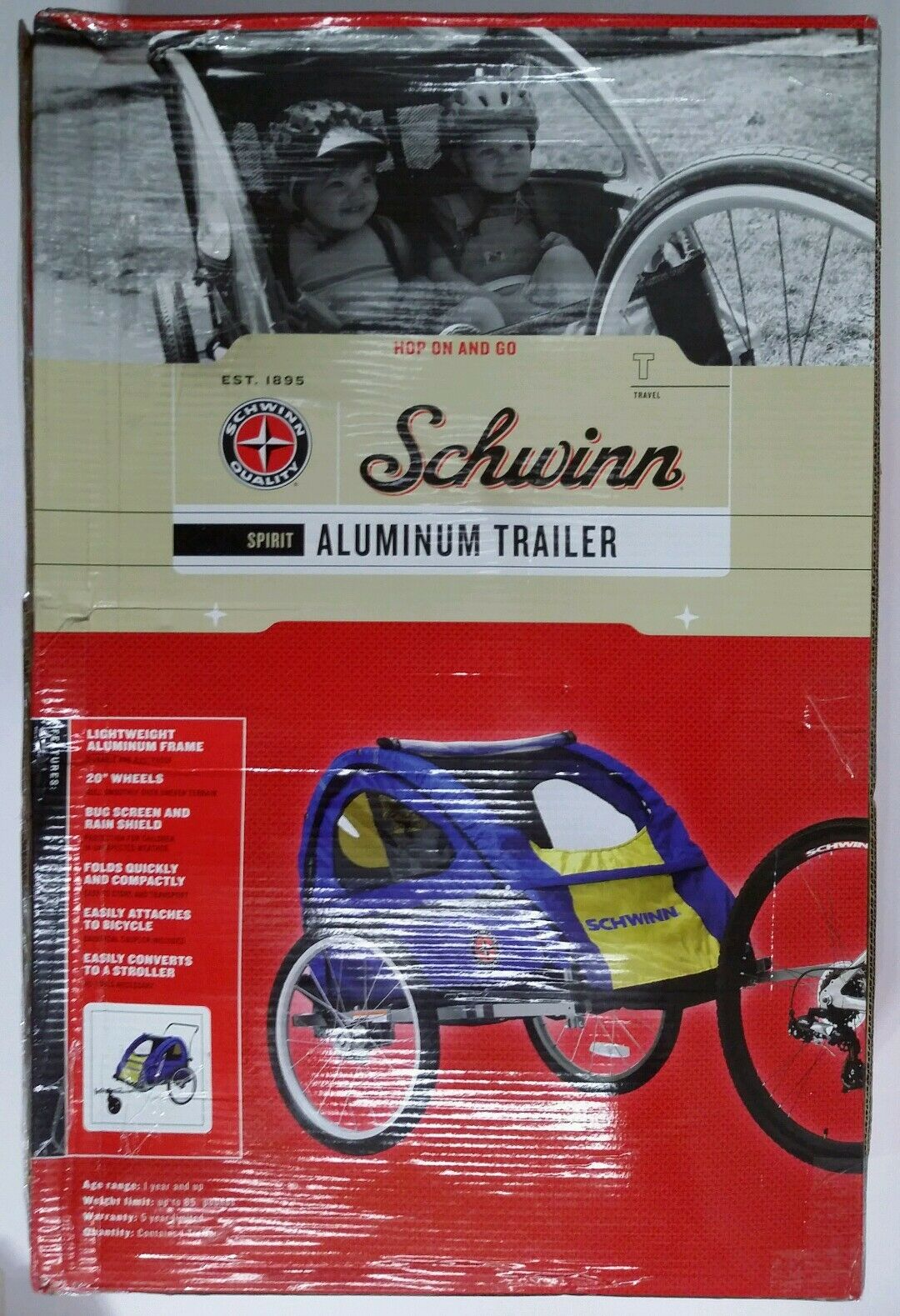 Schwinn Spirit Bike Bicycle Double 2 Child Aluminum Trailer