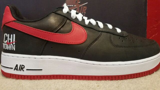 NIKE AIR FORCE ONE 1 RETRO Size 10.5 Black Red White 845053-001 Mens Shoes