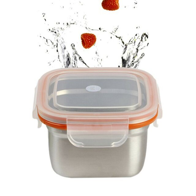 Kitchen Food Storage Container Stainless Steel Square Keep Side Dish