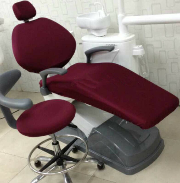 1 Set Dental Unit Cloth Chair Cover Sleeves Protector Thicken Wine Red Color