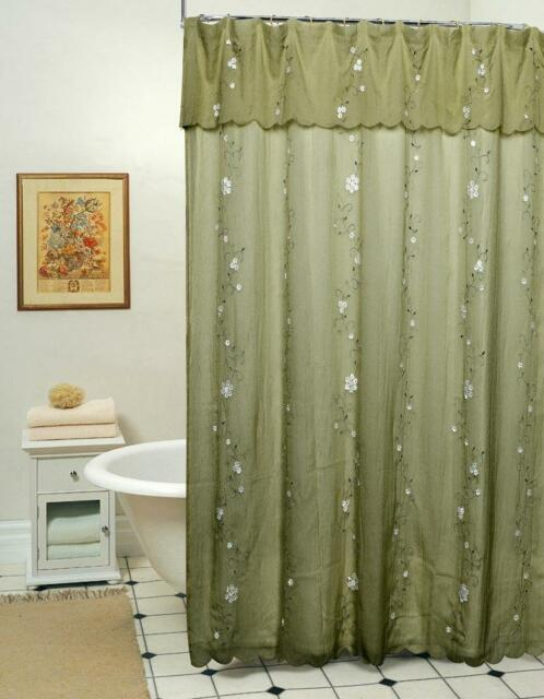 Daisy Embroidery 3d Fabric Shower Curtain Creative Linens S&h Sage ...