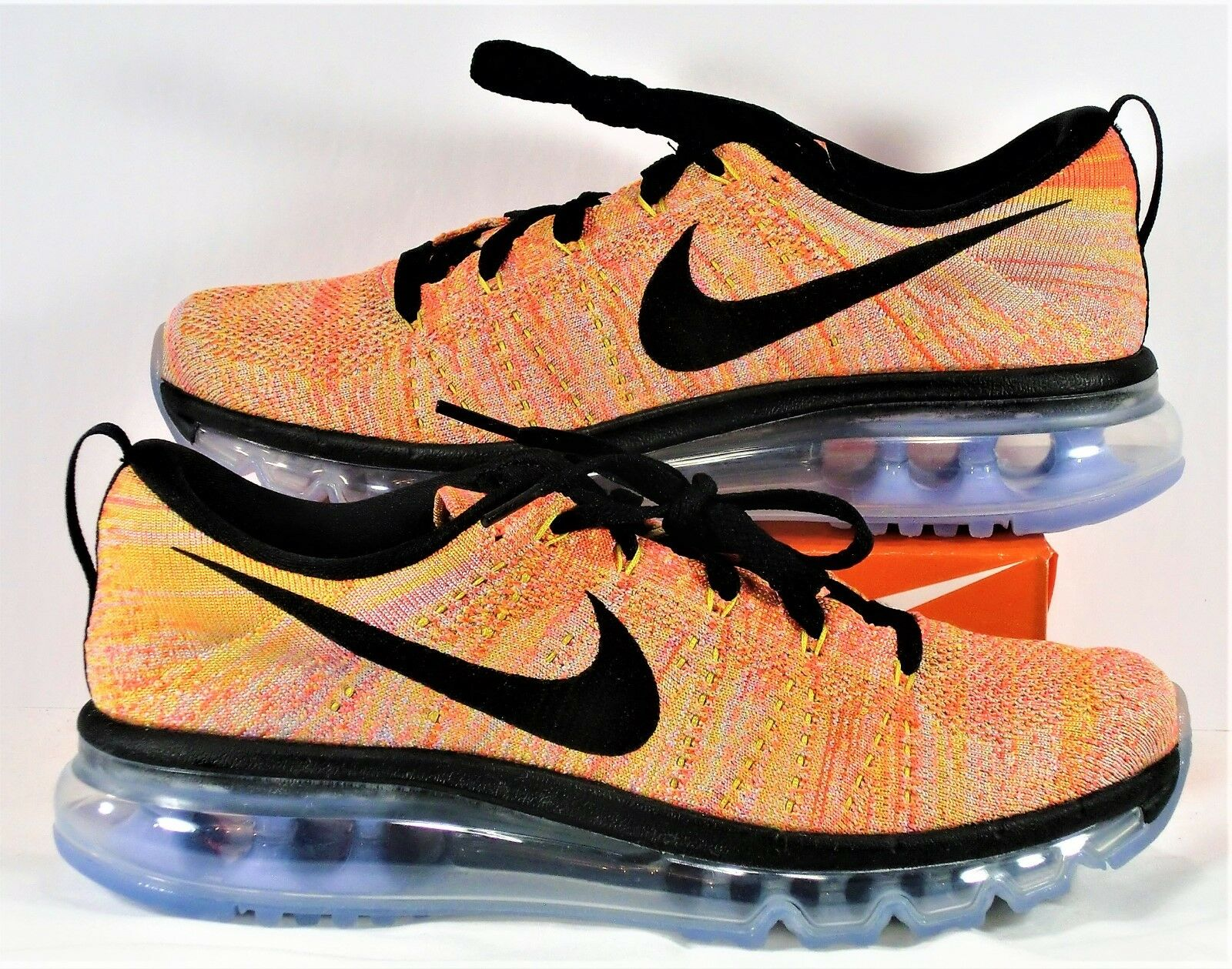 Nike Air Flyknit Max Black & Hot Punch Running Shoes Sz 11.5 NEW 620659 406