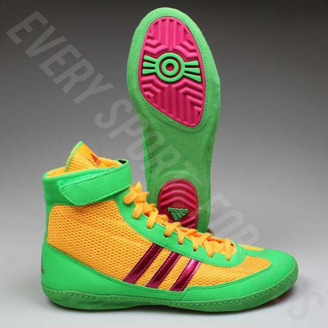 Adidas Agencia de velocidad 4 zapatos de lucha aq3059 oro / rosa / Lime (Nueva