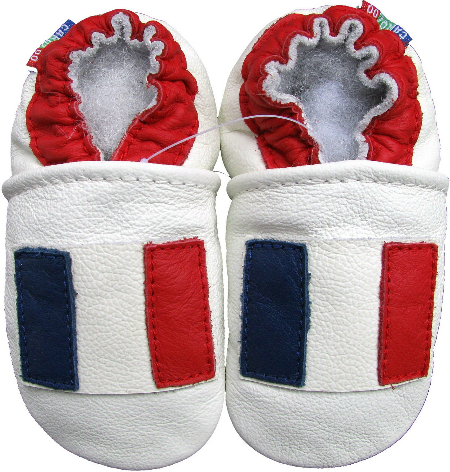 Soft Sole Leather Baby Shoes French Flag White 18 24m