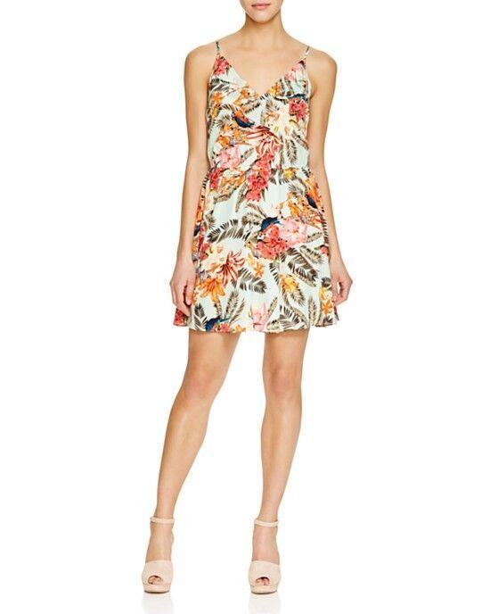Amanda Uprichard Ruffle Silk Dress Tropical Palm Floral Print Large ...
