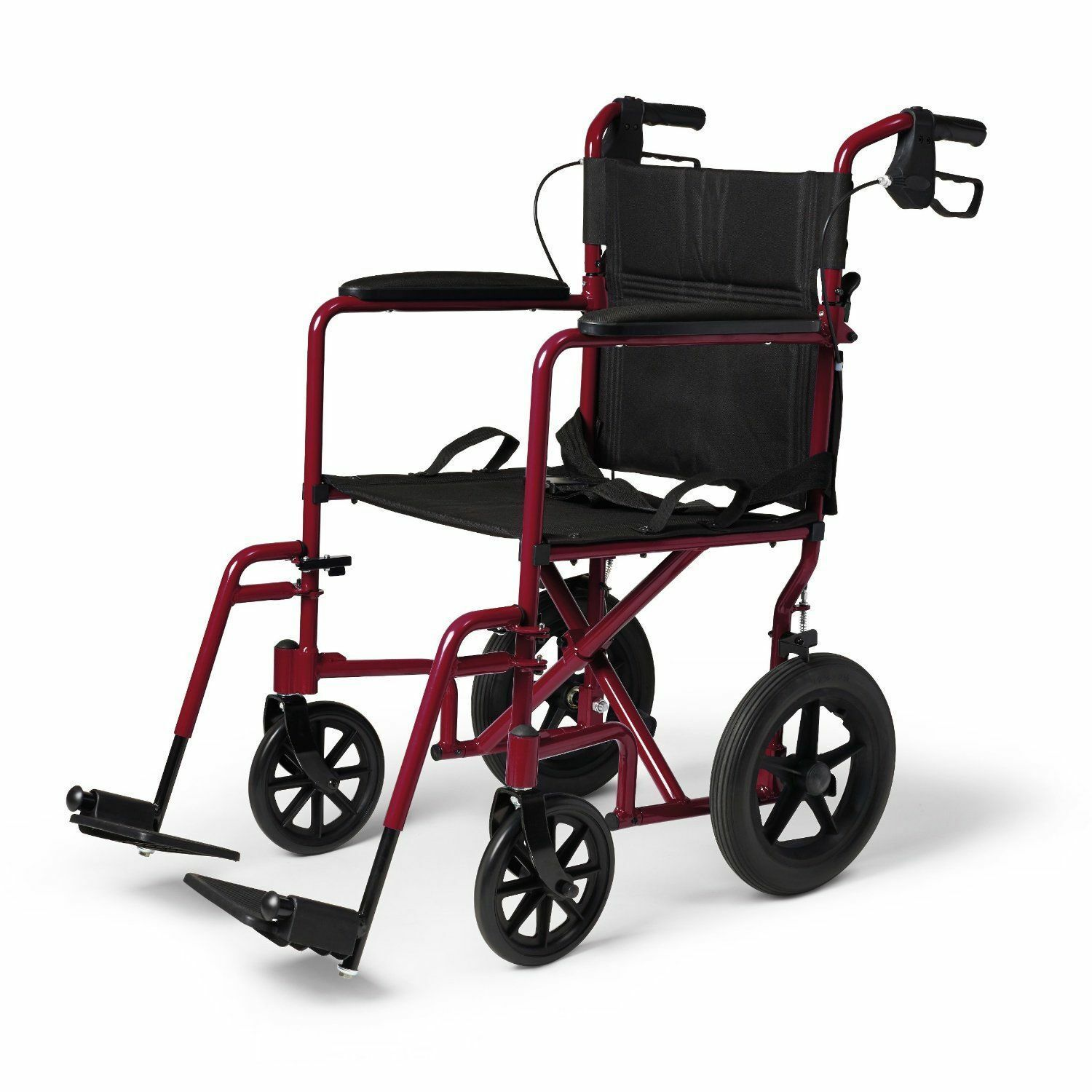 Medline Wheelchair With Brakes Red MDS ARE