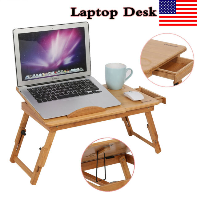 Bamboo Laptop Desk Table Stand Folding Breakfast Bed Serving Tray + Drawer  Wood
