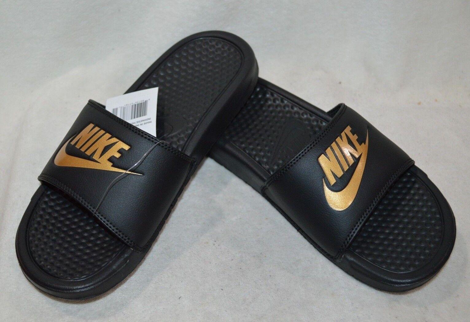 Nike Benassi JDI Men's Slides Black/Metallic Gold 343880-016