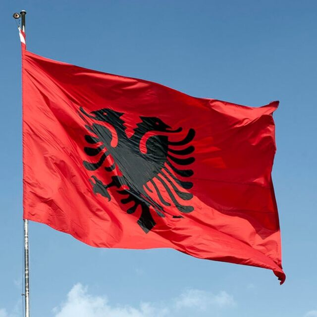 X Albania Flag Double Headed Eagle Outdoor Indoor Banner - Albania flag