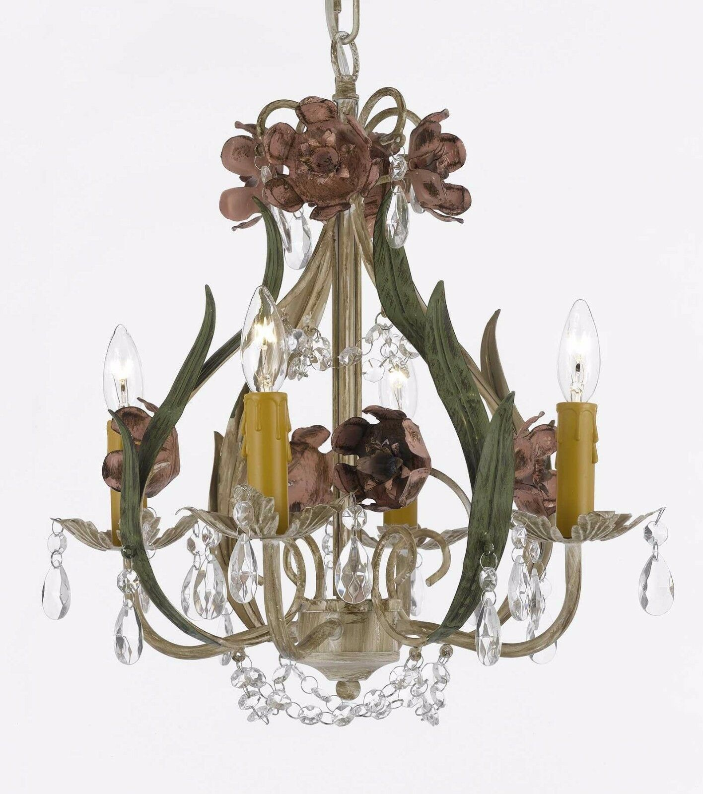Floral wrought iron and crystal 4 light chandelier pendant lighting picture 1 of 1 aloadofball Images