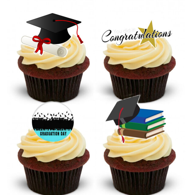 16 Stand Up Graduation Congratulations Premium Wafer Paper Edible Cake Toppers