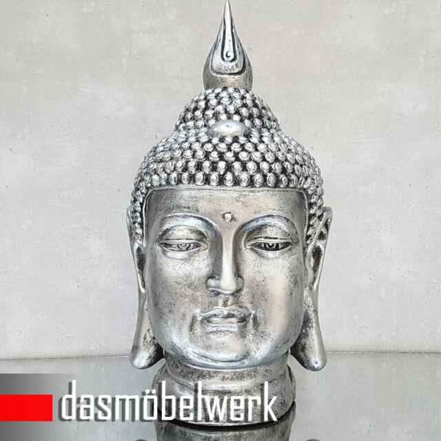 Buddha Kopf Groß Figur Feng Shui Asia Statue Garten Bad Deko Skulptur S082 A-Sil