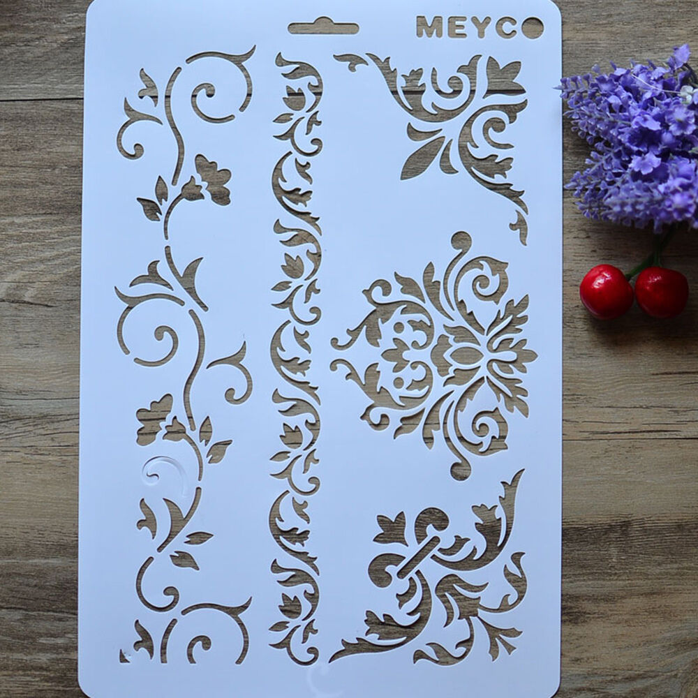 Plastic stencils ebay plastic diy vine flower layering stencils album stamping drawing template tool amipublicfo Images