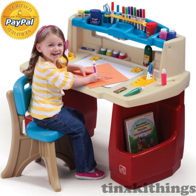 Amazing Kids Art Desk Table With Chair Set Small Toddler Play Room Children Study  Child