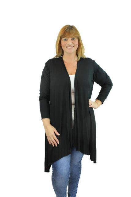 Ladies Plus Size Jersey Drape Waterfall Long Stretch Cardigan Top ...