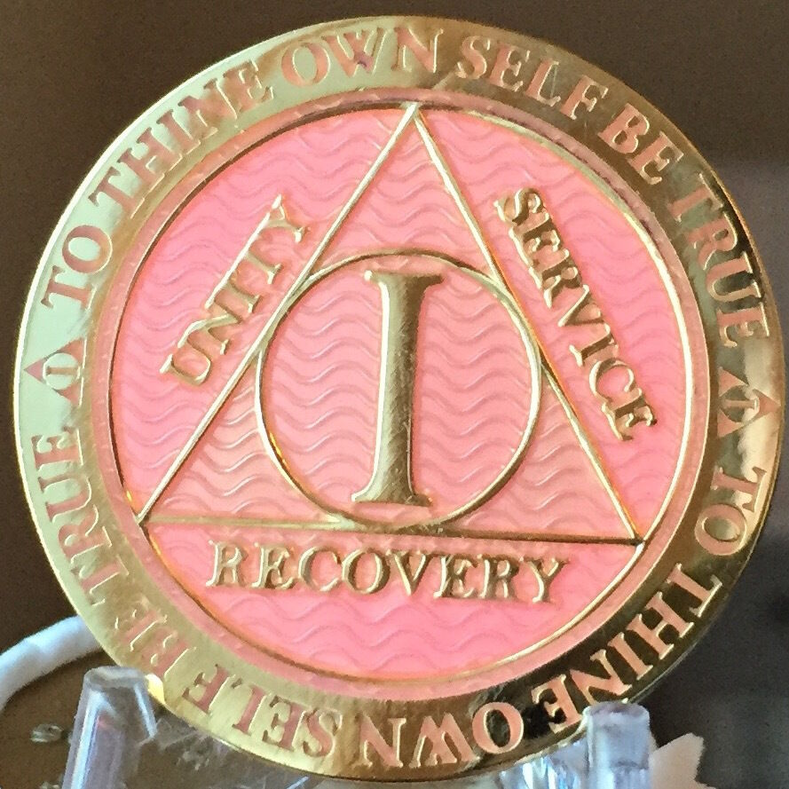 1 Year Aa Medallion Pink Gold Plated Alcoholics Anonymous Sobriety