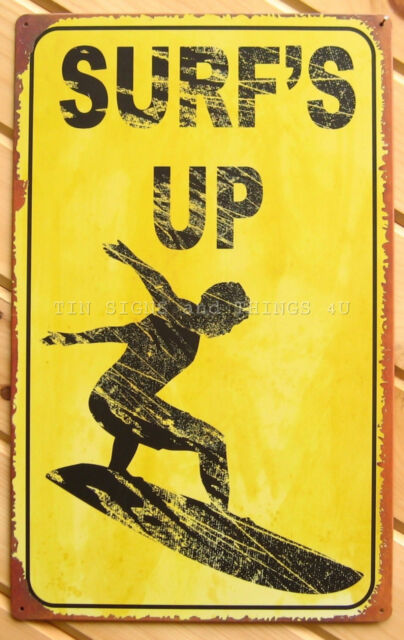 Surf\'s up Tin Sign Vtg Rustic Metal Wall Decor Tiki Bar Beach ...