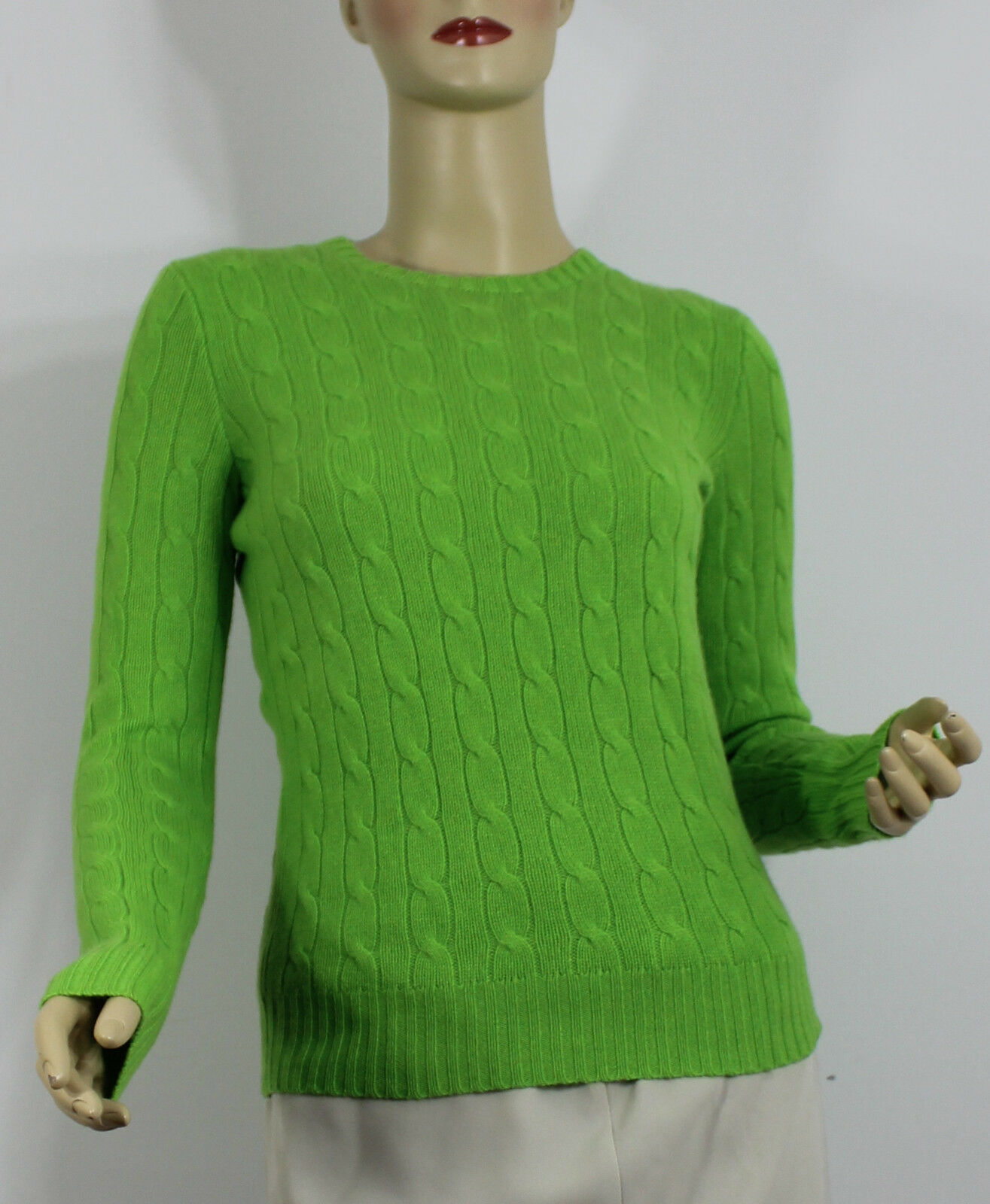 Ralph Lauren Polo Cashmere Sweater Womens Large Green Cable Knit ...