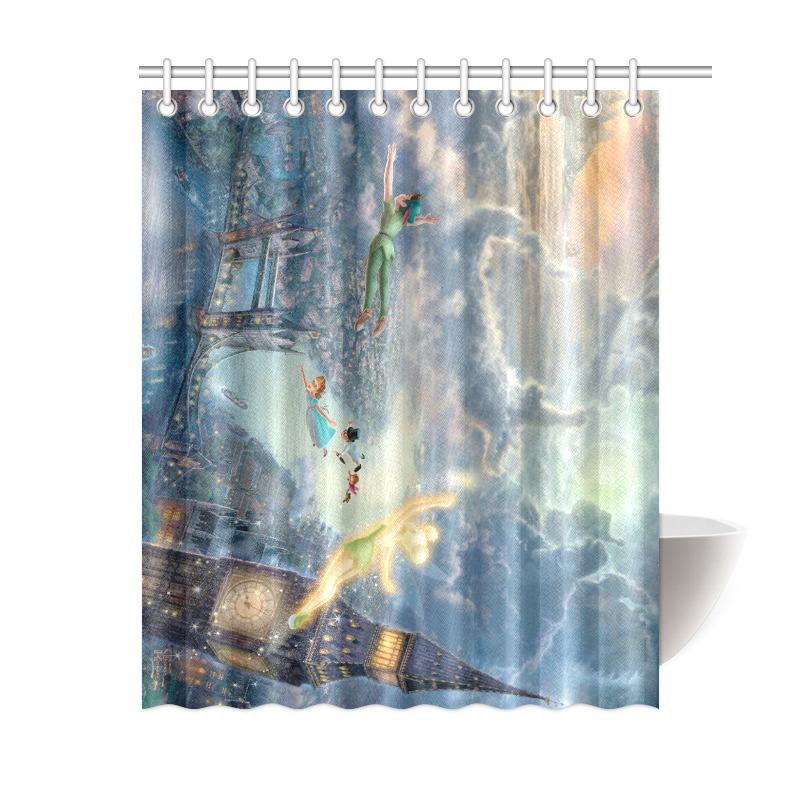 Peter Pan Never Grow up Neverland Print Waterproof Bath Shower ...