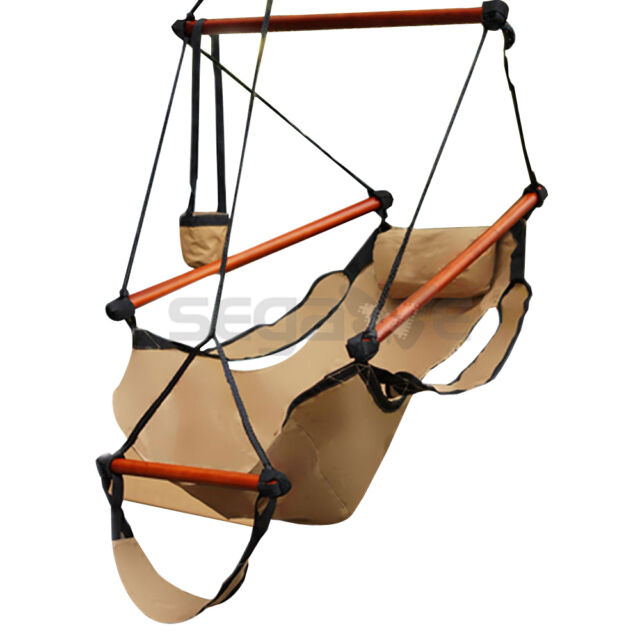 Picture 2 of 2  sc 1 st  eBay & Hanging Hammock Air Chair With Foot Rest Wood Spreader Bar Porch ...