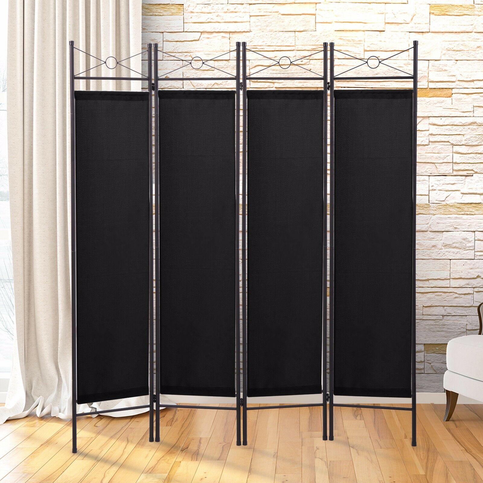 Black 4 Panel Room Divider Privacy Folding Screen Home Office Fabric ...