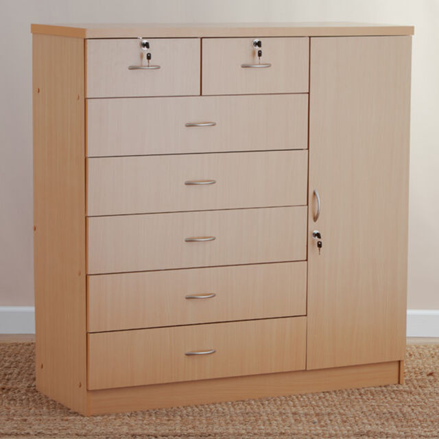 Natural 7 drawer dresser storage chest bedroom cabinet - Bedroom storage cabinets with drawers ...