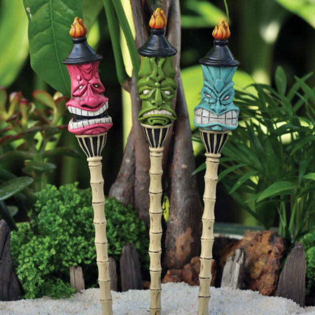 Tiki Torch Stakes Set 3 Miniature Fairy Faerie Gnome Garden Dollhouse GO  17311