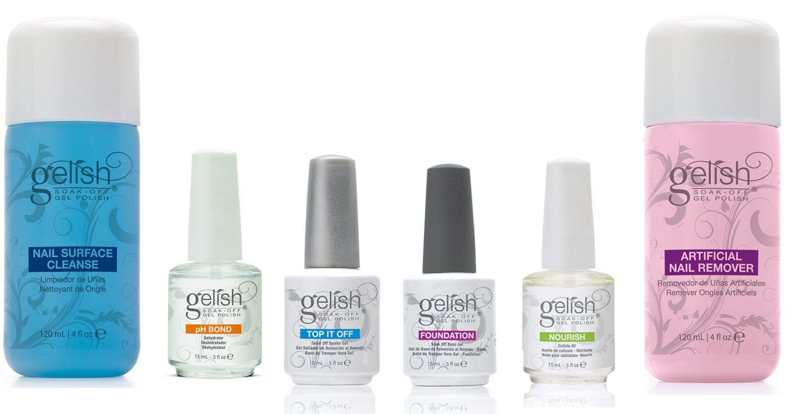 Gelish Full Size GEL Nail Polish Basix Care Kit (15ml) Remover ...