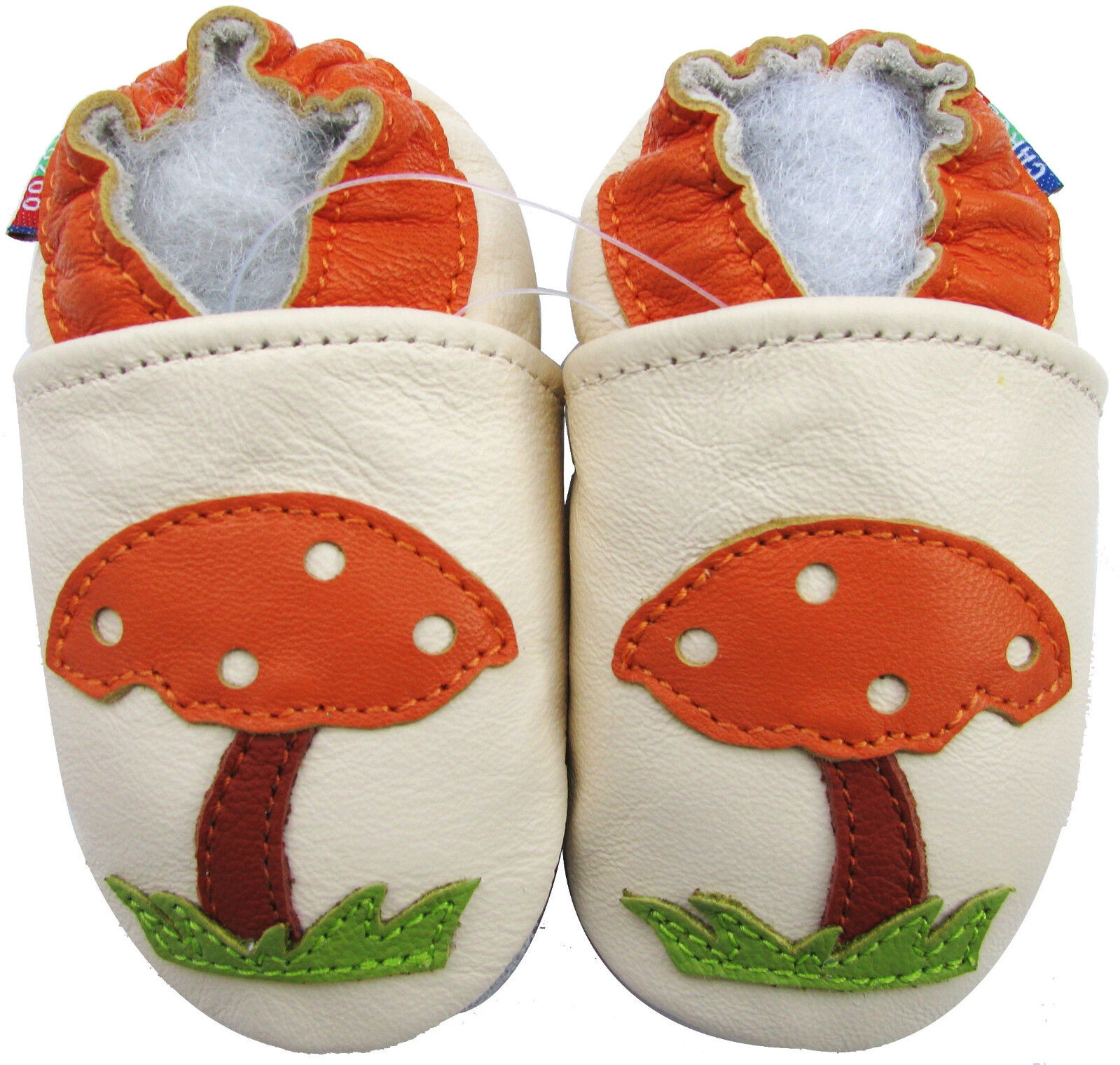 Carozoo Soft Sole Leather Baby Shoes Mushroom Cream 0 6m
