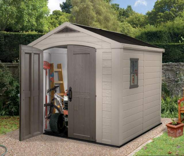 Keter Factor 8 X 8 Plastic Garden Shed/Garage Next Day Delivery! 10 Yr