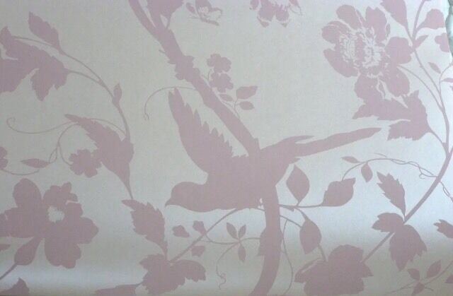 oriental garden chalk pink wallpaper bird butterfly laura
