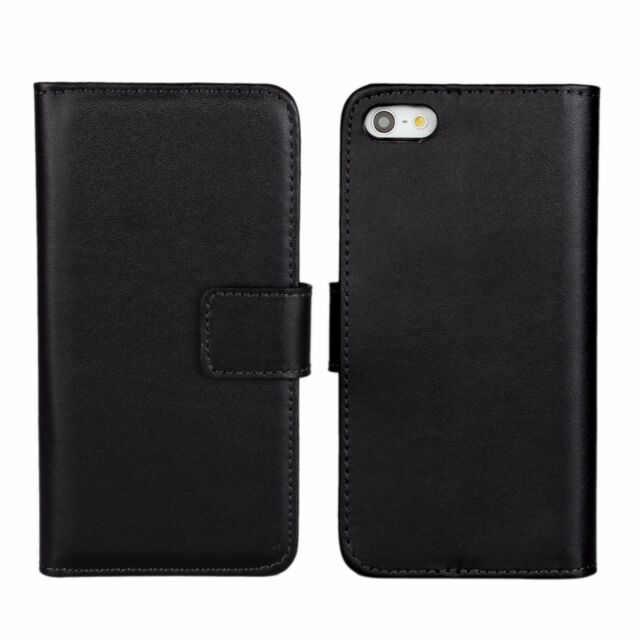 reputable site a5145 cdf71 Black Genuine Leather Business Card Money Wallet Case Cover for iPhone 5 5s  SE
