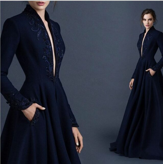 NAVY Blue V-neck Embroidery Satin Wedding Evening Dress Formal Prom ...