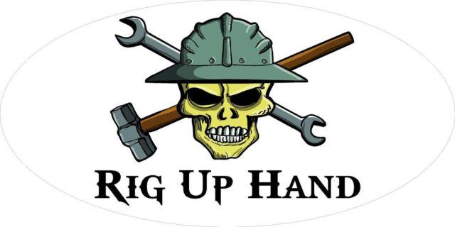 3 rig up hand skull oilfield roughneck hard hat helmet sticker h304