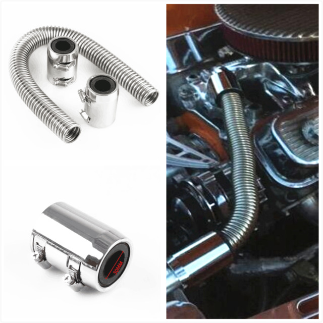 24  Flexible Stainless Steel Upper or Lower Radiator Hose Kit with Polished Caps  sc 1 st  eBay & 24