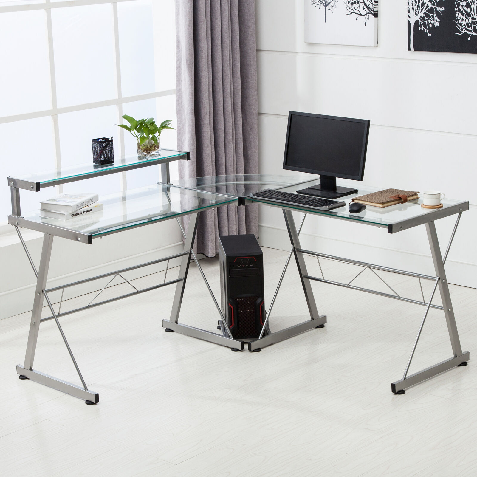 lshape corner computer desk pc glass laptop table workstation home office clear