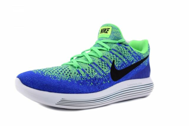 New Men's Nike Lunarepic Low Flyknit 2 Size 13 Electrogreen Blue Running Shoes