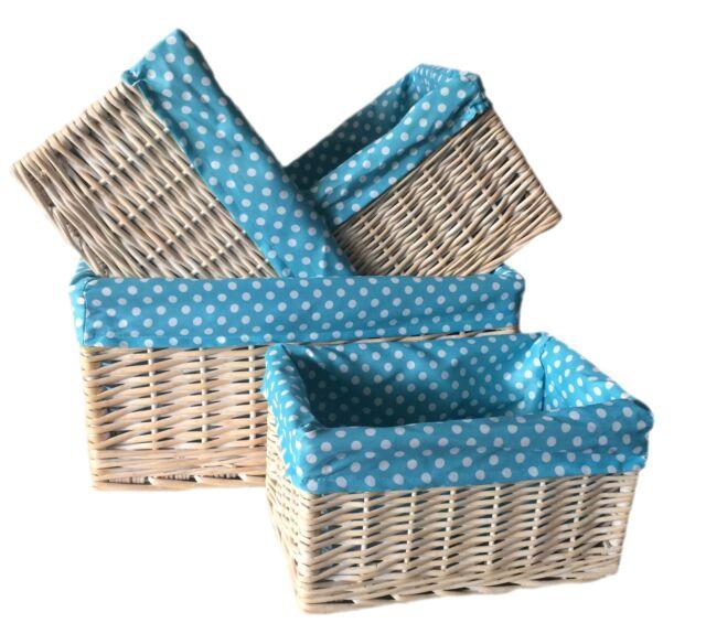 Set Wicker Storage Basket White Washed Spotty Blue Liner Set of 4 | eBay