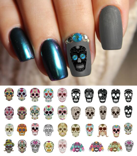 Sugar Skull Nail Art Day of Dead Decals Set 1 Featured in Rachael ...