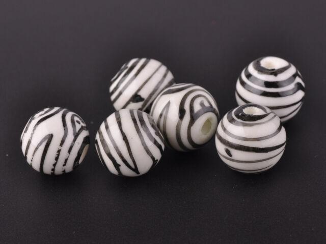 10pcs 12mm Round Porcelain Ceramic Loose Spacer Big Hole Beads Black Stripes