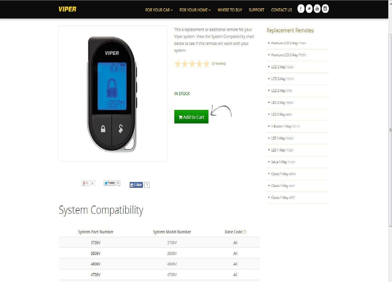 viper 7756v 2 way lcd replacement remote control ebay