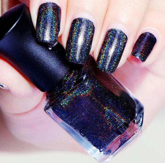 6ml Holographic Holo Glitter Nail Polish Super Shine Dark Blue Color ...