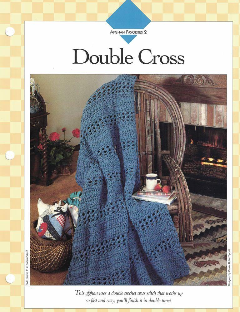 Fast Easy Double Cross Afghan To Crochet Single Pattern Vanna