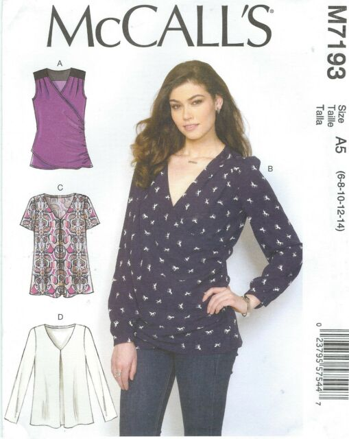 Women Blouse Top Pullover Sewing Pattern 7193 Mccall\'s Size 14 - 22 ...