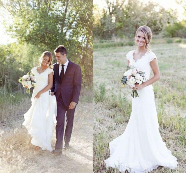 Vintage Lace V Neck Wedding Dress Mermaid Western Country