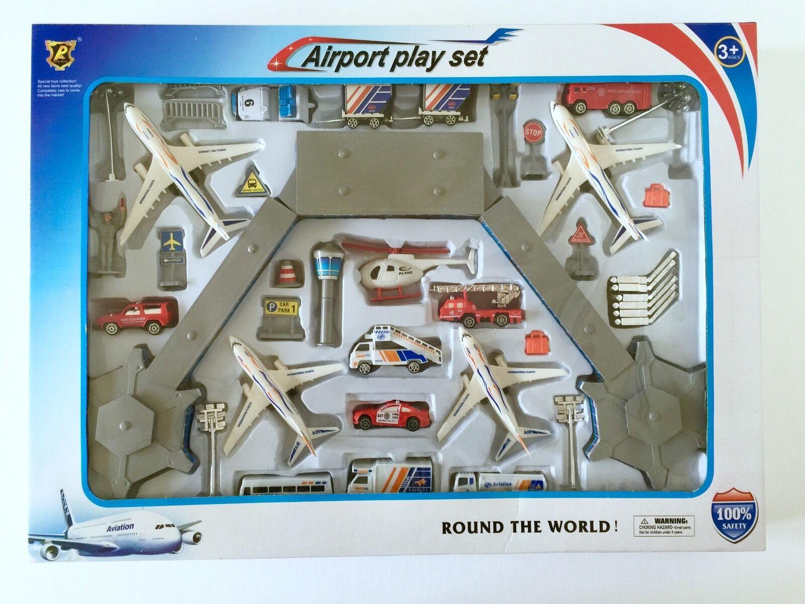 Airport Building Hub Terminal Tower Airplane Set Kids Boys Toys 1