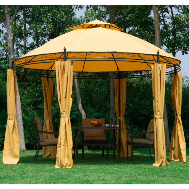 Delightful Outsunny Round Outdoor Patio Canopy Party Gazebo With Curtains 11ft Orange  | EBay