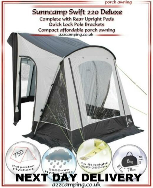 New 2018 Sunncamp Swift 220 Deluxe Caravan Porch Awning With Rear Upright Pads