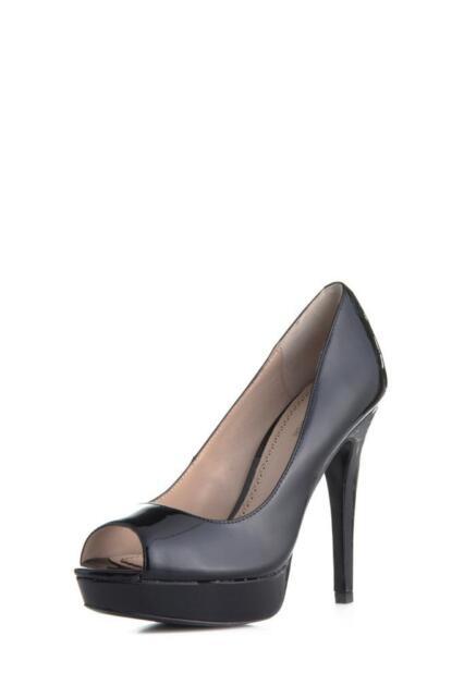 Pour La Angelie Victoire Angelie La Pump schwarz PEEP Toe Platform Patent Leder 4a545d