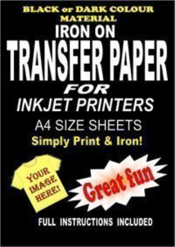 Inkjet Printable Iron On T Shirt & Fabric Transfer Paper For Dark Fabrics 5 A4